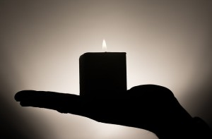 candle in the hand