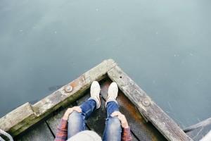 sitting feet dock